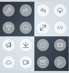 Interface icons line style set with return base vector
