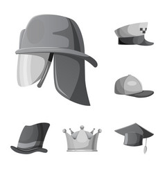 Isolated object of headwear and cap symbol vector