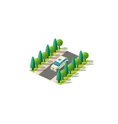 isometric light green minivan vector image