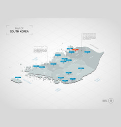 Isometric south korea map with city names and vector