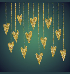 jewelry gold glitter of love heart symbol vector image