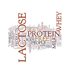 Lactose free whey protein text background word vector