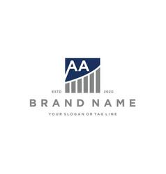 Letter aa chart financial logo design vector