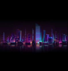 metropolis night background neon cartoon vector image