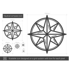 nautical compass line icon vector image