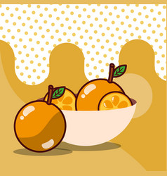 orange in bowl harvest fruit tasty dotted vector image