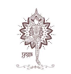 Ornament beautiful man in a yoga pose lotus vector