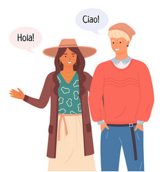 people in casual clothes talking hello in vector image