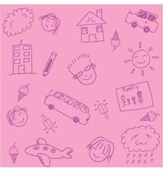Pink school kids doodle art vector image