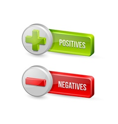 Positives and negatives buttons vector