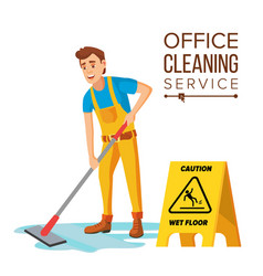 Professional office cleaner janitor with vector
