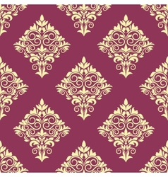 Purple and beige floral arabesque pattern vector image