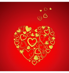 red Valentines Day Card with gold hearts vector image vector image