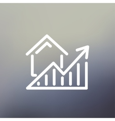 Residential Graph Increases thin line icon vector image