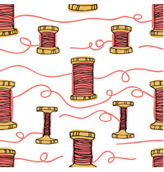 retro wooden reels of thread living coral color vector image