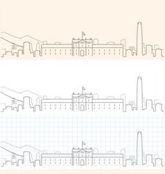 Santiago de chile hand drawn skyline vector