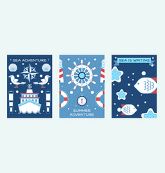 sea summer adventure set posters vector image
