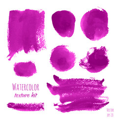 set of magenta pink purple lilac watercolor vector image