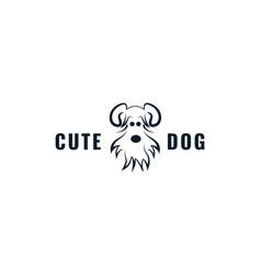 Shih tzu dog face cute logo design cartoon vector