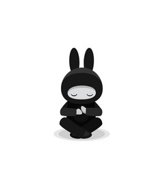 sitting cute bunny ninja isolated on white vector image