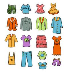 Sketch colored family wardrobe elements set vector