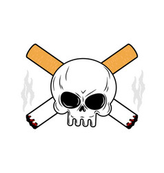 Skull and crossbones cigarettes smoking leads to vector