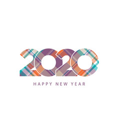 tartan plaid orange blue texture 2020 happy new vector image