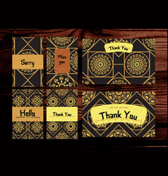Thank you miss you sorry cards set isolated on vector