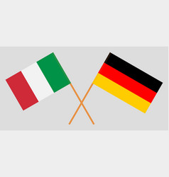 The crossed germany and italy flags vector