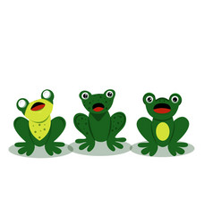 three cute singing frogs vector image