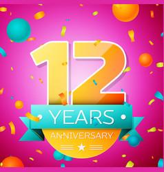 twelve years anniversary celebration design banner vector image