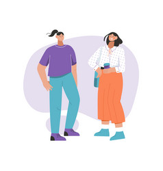 Two women stand together greeting talking vector