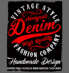 Typography vintage denim brand logo print for vector