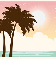 Warm relaxing landscape vector
