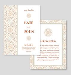 Wedding invitation greeting card with mandala vector
