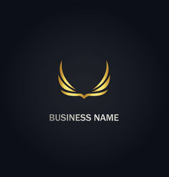 wing abstract gold logo vector image