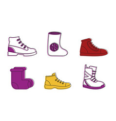 winter shoes icon set color outline style vector image