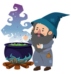 Wizard and magic brew on white background vector