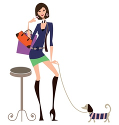 Woman and dog vector