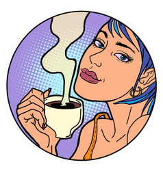 woman with a cup morning coffee or tea vector image