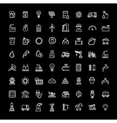black energy icons set vector image vector image