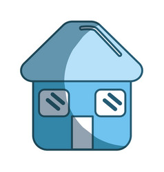 Blue house with door roof and windows icon vector
