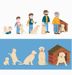 child growth dog growing and aging concept vector image