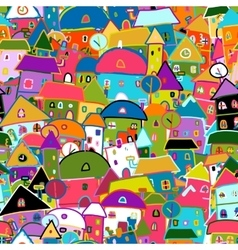 Colorful city seamless pattern for your design vector image vector image