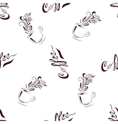 Seamless Pattern Hand Drawn Coffee Cup with Floral vector image