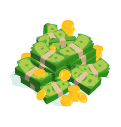 very large bundles of money and coins vector image vector image