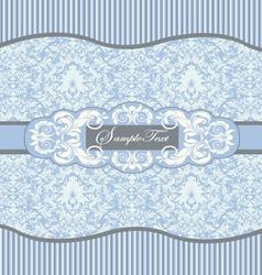 blue floral damask invitation card vector image vector image