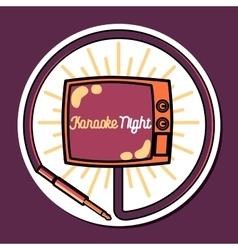 Color vintage karaoke emblems vector image