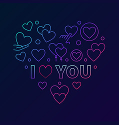 colorful i love you heart linear vector image