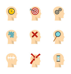 man head with sign icons set flat style vector image